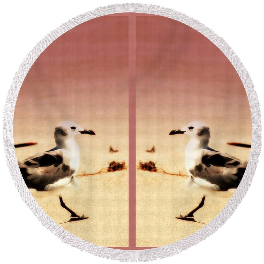 Double Gulls Round Beach Towel featuring the photograph Double Gulls Collage by Susanne Van Hulst