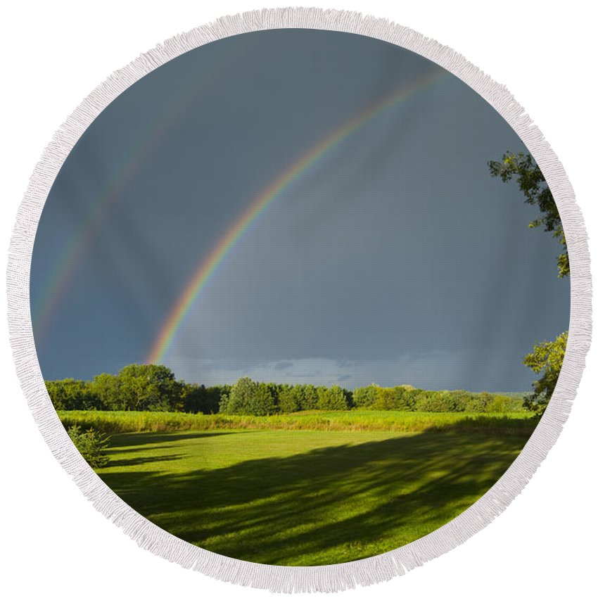 Rainbow Round Beach Towel featuring the photograph Double Rainbow Over Fields by Lynn Hansen