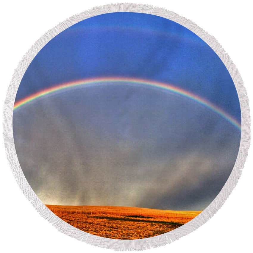 Spectacular Round Beach Towel featuring the photograph Double Rainbow by Scott Mahon