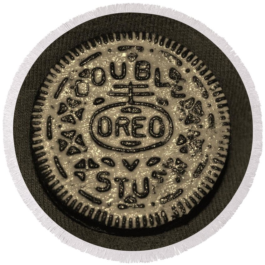 Oreo Round Beach Towel featuring the photograph Double Stuff Oreo In Sepia Negitive by Rob Hans