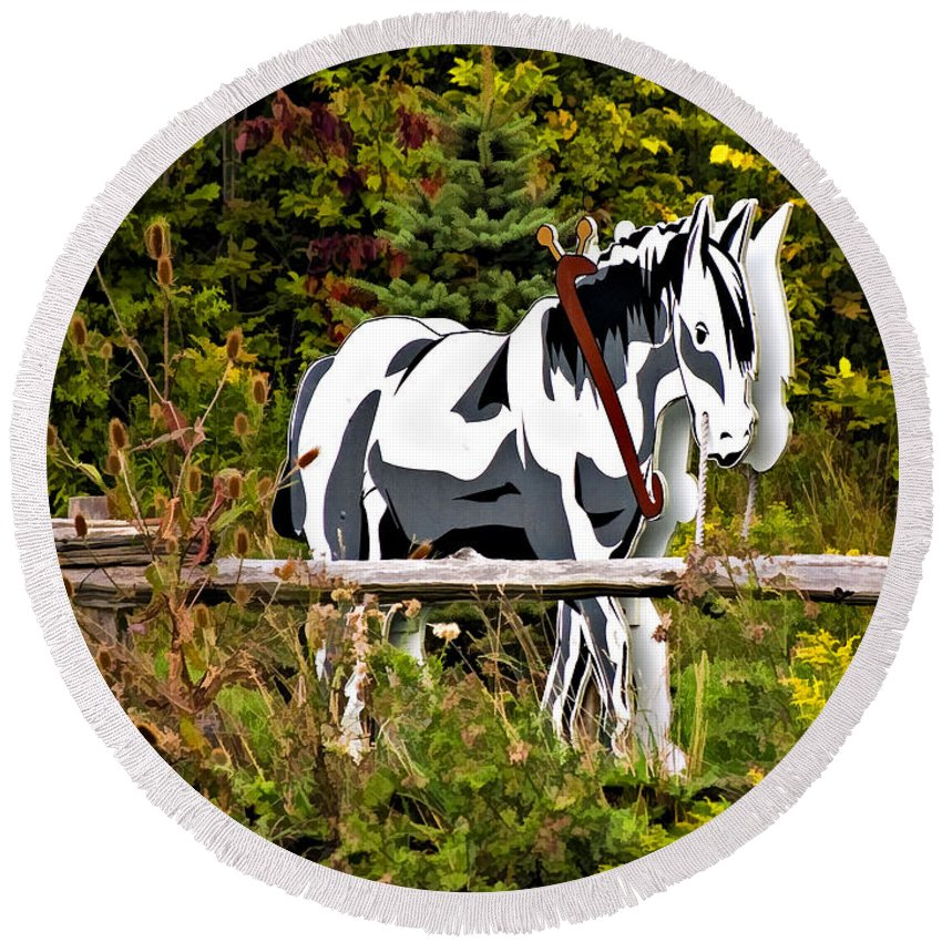 Horse Round Beach Towel featuring the photograph Double Take by Steve Harrington