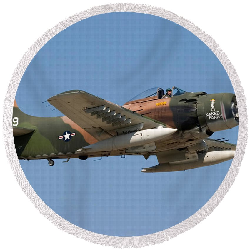 3scape Round Beach Towel featuring the photograph Douglas AD-4 Skyraider by Adam Romanowicz