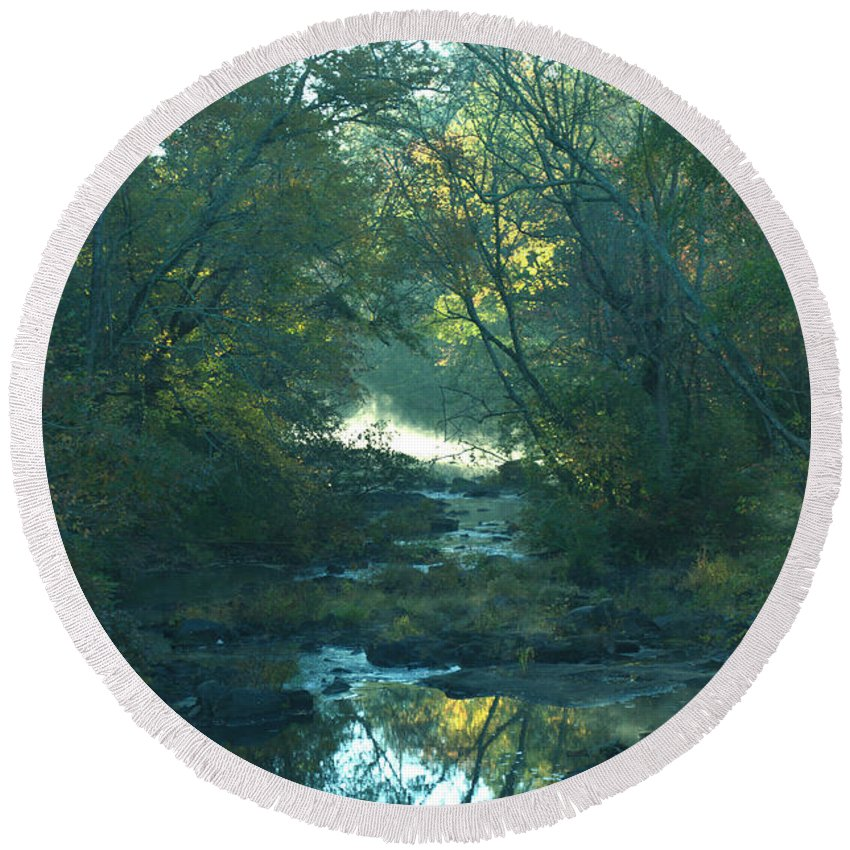 Creek Round Beach Towel featuring the photograph Down Stream by Donna Brown