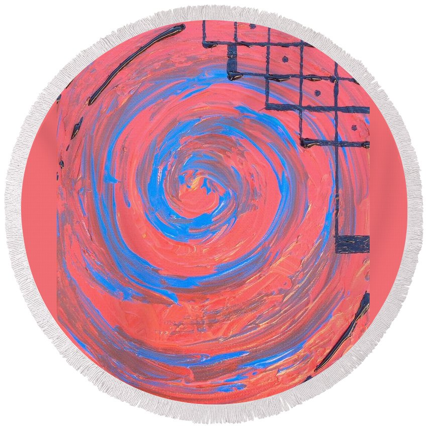 Swirl Round Beach Towel featuring the painting Down The Drain by Noah Babcock