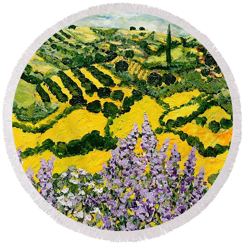 Landscape Round Beach Towel featuring the painting Down The Hill by Allan P Friedlander