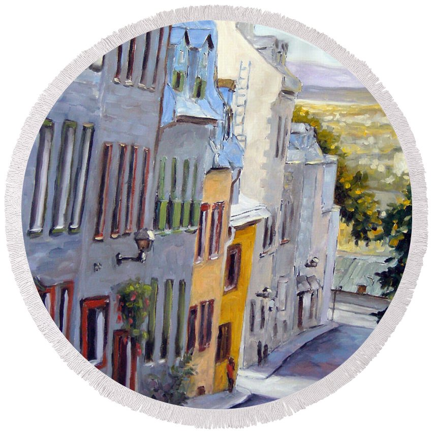 Urban Round Beach Towel featuring the painting Down The Hill Old Quebec City by Richard T Pranke