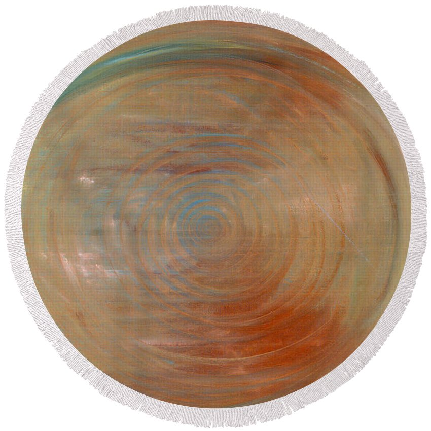 Abstract Round Beach Towel featuring the painting Down The Rabbit Hole by Jessica Rosen