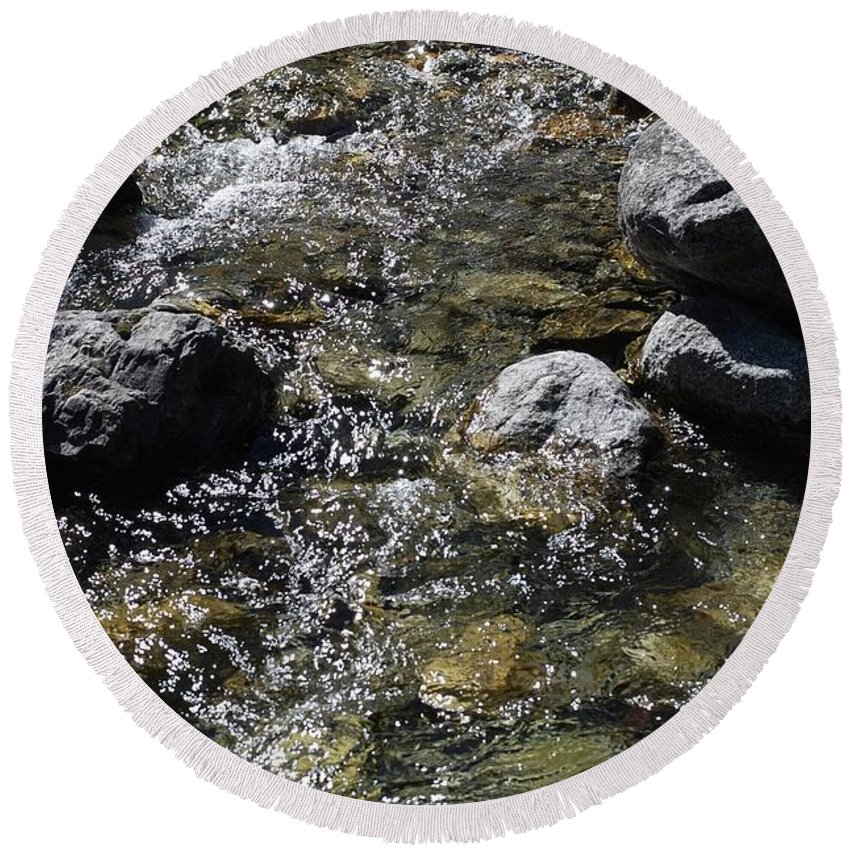 Down The River Round Beach Towel featuring the photograph Down The River by Gina Dsgn