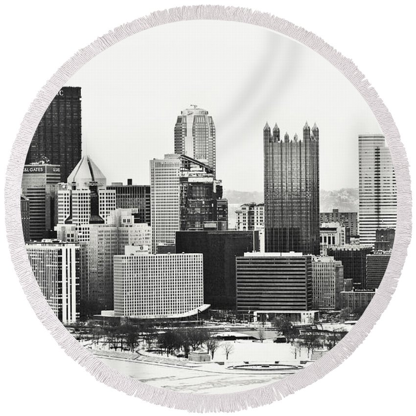 Pittsburgh Round Beach Towel featuring the photograph Cold Winter Day In Pittsburgh Pennsylvania by Sharon Dominick