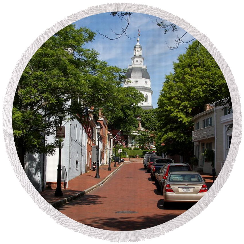 Annapolis Round Beach Towel featuring the photograph Downtown Annapolis With Maryland State House Cupola by Christiane Schulze Art And Photography
