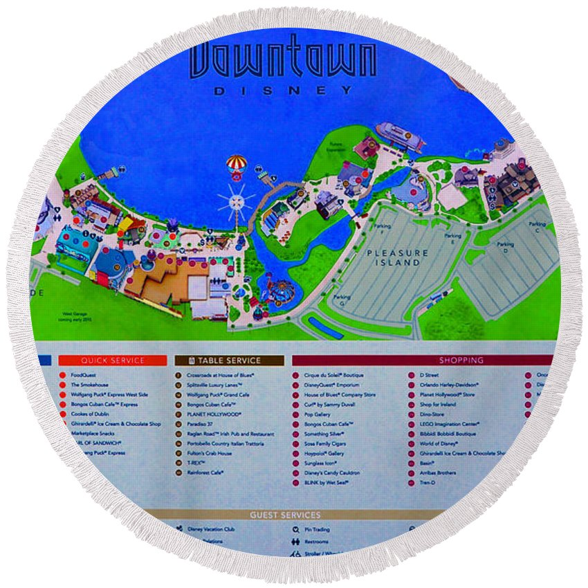 Downtown Disney Florida Map Clic Round Beach Towel for Sale by ... on