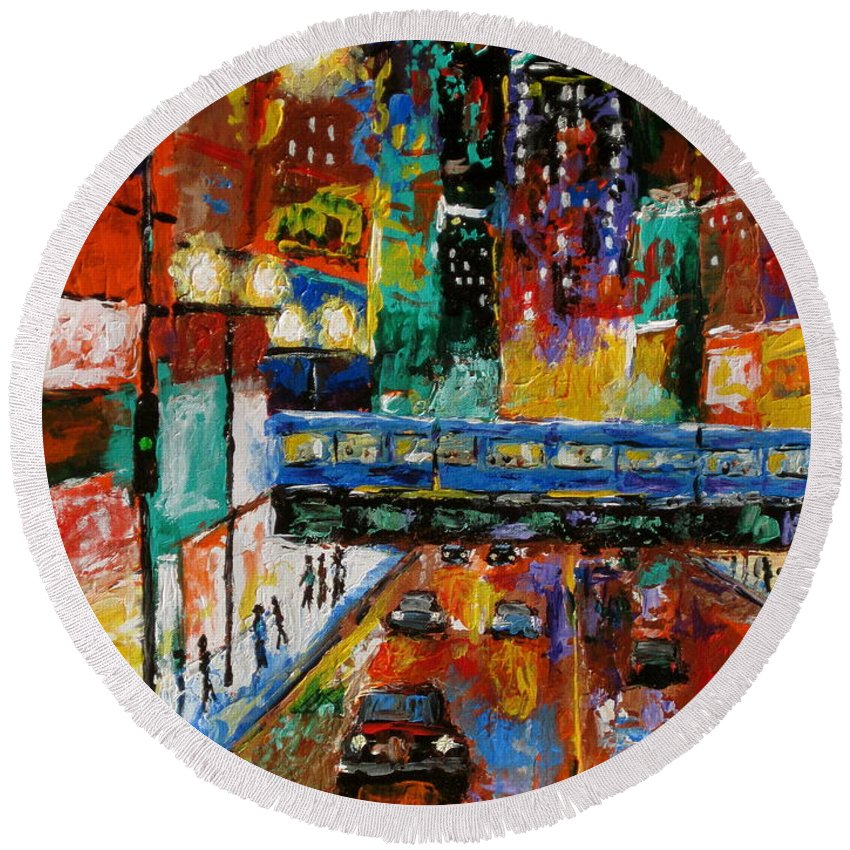 Chicago Art Round Beach Towel featuring the painting Downtown Friday Night by J Loren Reedy