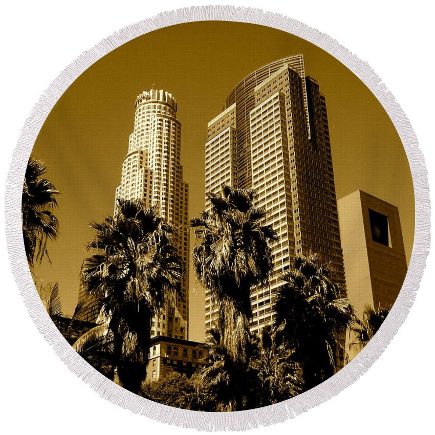 Los Angeles Prints Round Beach Towel featuring the photograph Downtown Los Angeles by Monique's Fine Art