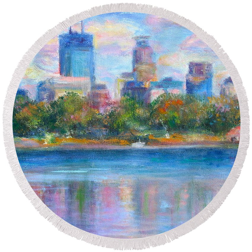Quin Sweetman Round Beach Towel featuring the painting Downtown Minneapolis Skyline From Lake Calhoun by Quin Sweetman