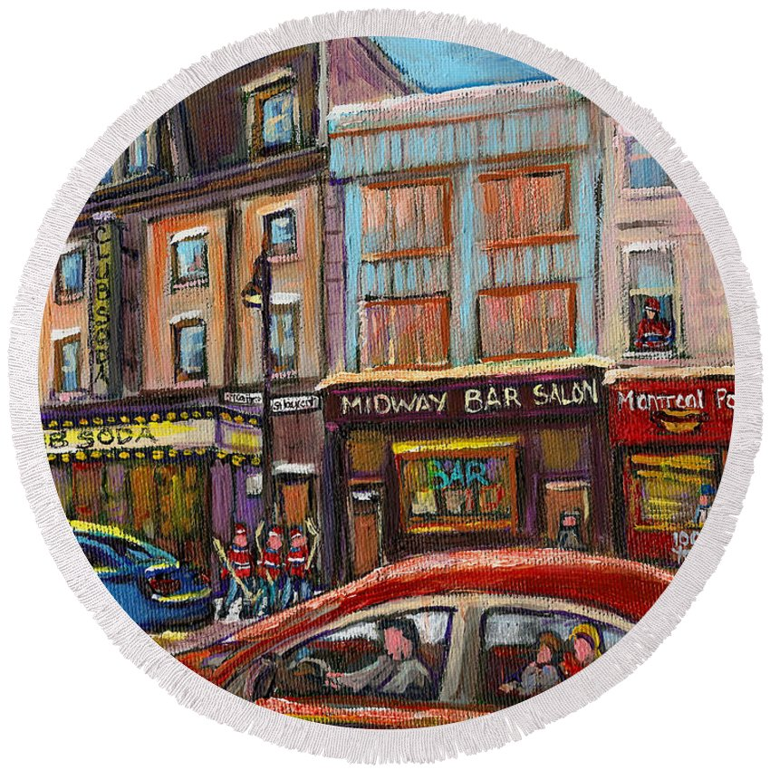 Montreal Round Beach Towel featuring the painting Downtown Montreal Streetscene by Carole Spandau