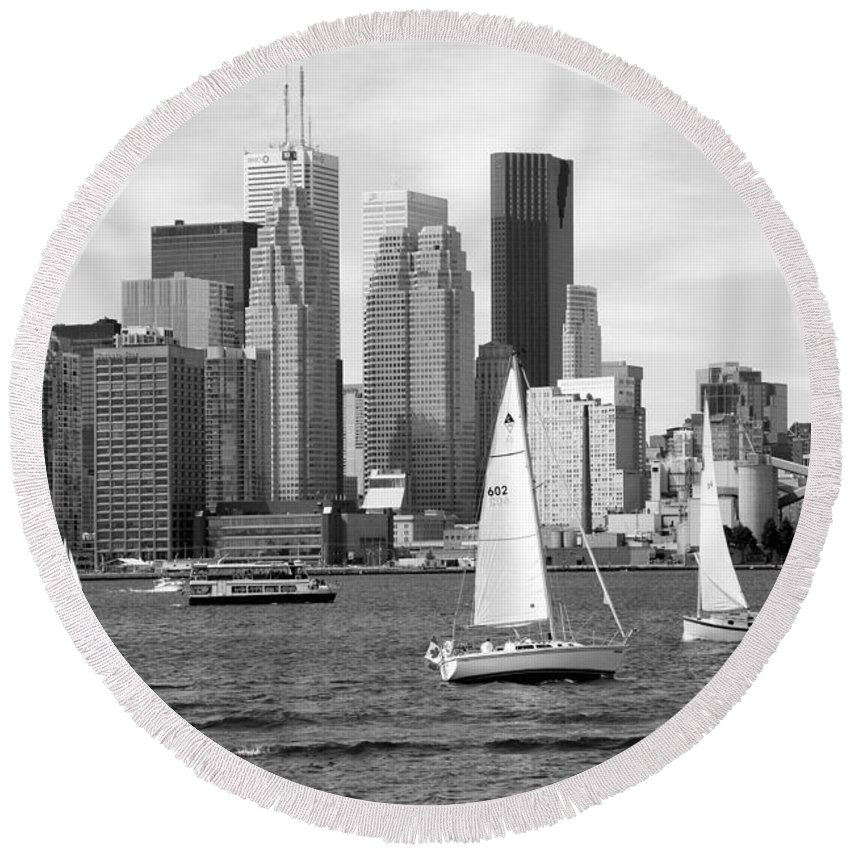 Black And White Round Beach Towel featuring the photograph Downtown Skyline Of Toronto On by Bill Cobb
