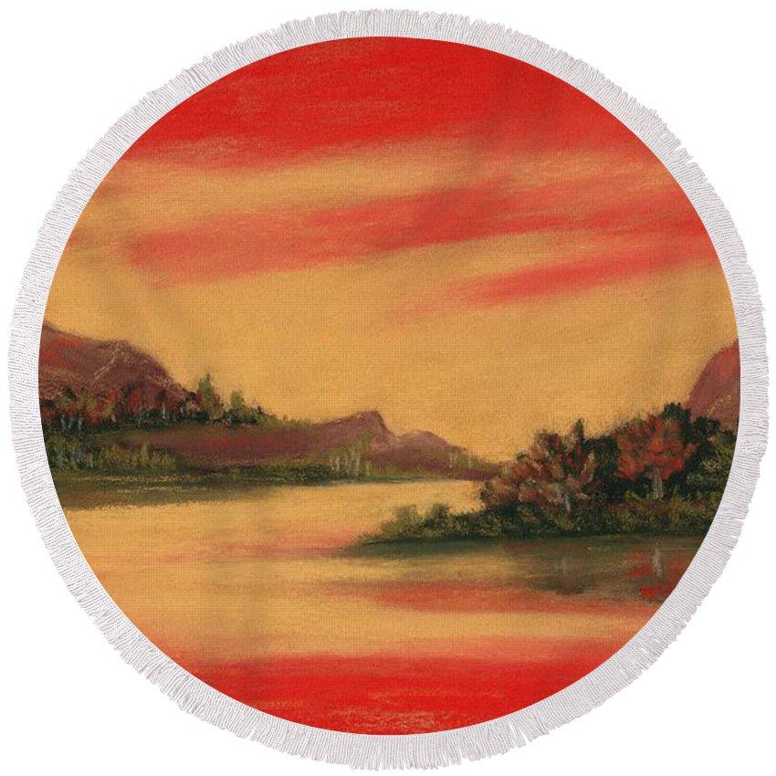 Dragon Round Beach Towel featuring the painting Dragon Sunset by Anastasiya Malakhova