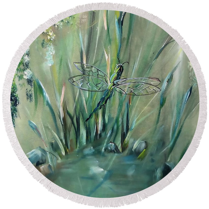 Dragonfly Round Beach Towel featuring the painting Dragonfly by Jessica Mason