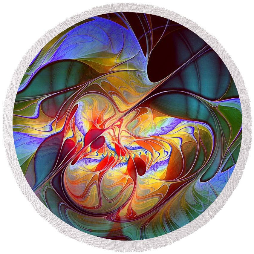 Abstract Round Beach Towel featuring the digital art Dragonheart by Casey Kotas