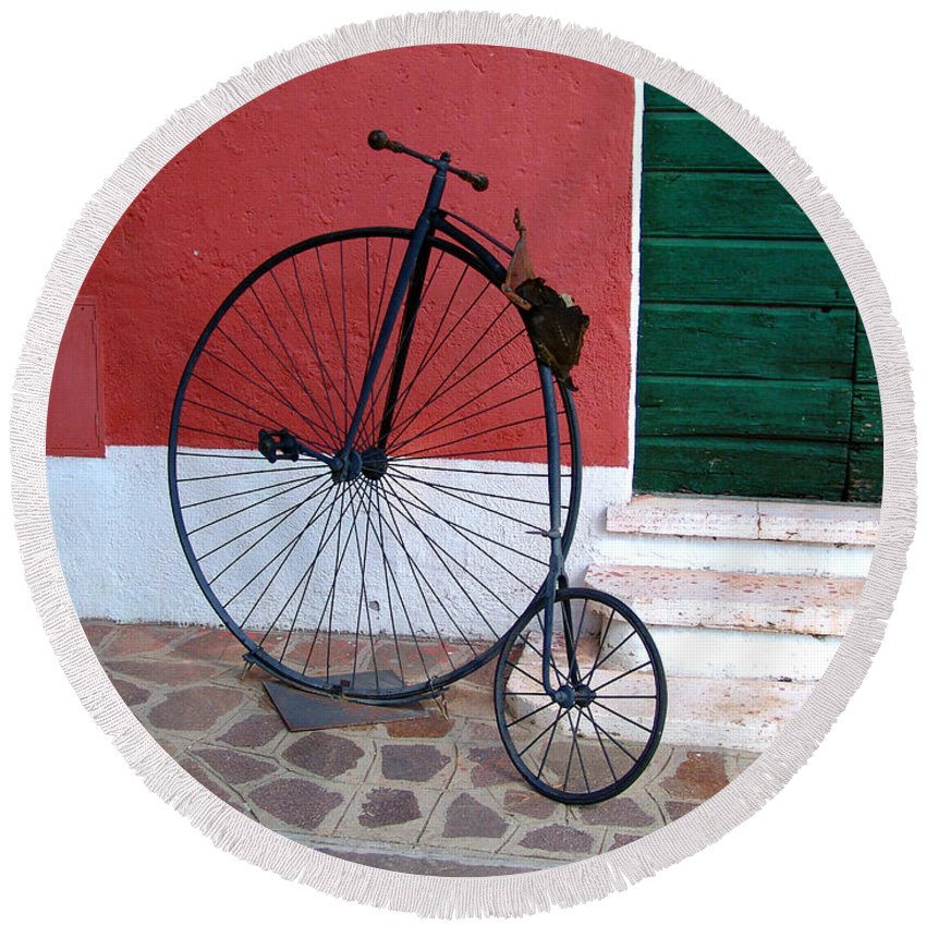 Bicycle Round Beach Towel featuring the photograph Draisina by Alessandro Della Pietra