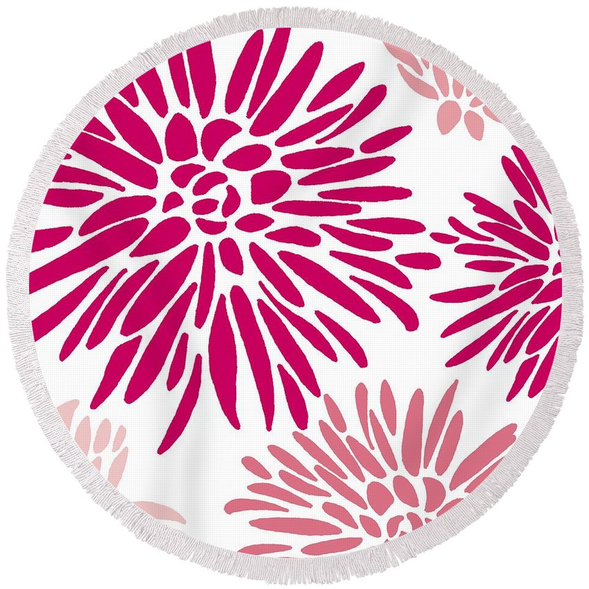 Pink Round Beach Towel featuring the painting Drama Queen by Sarah Hough