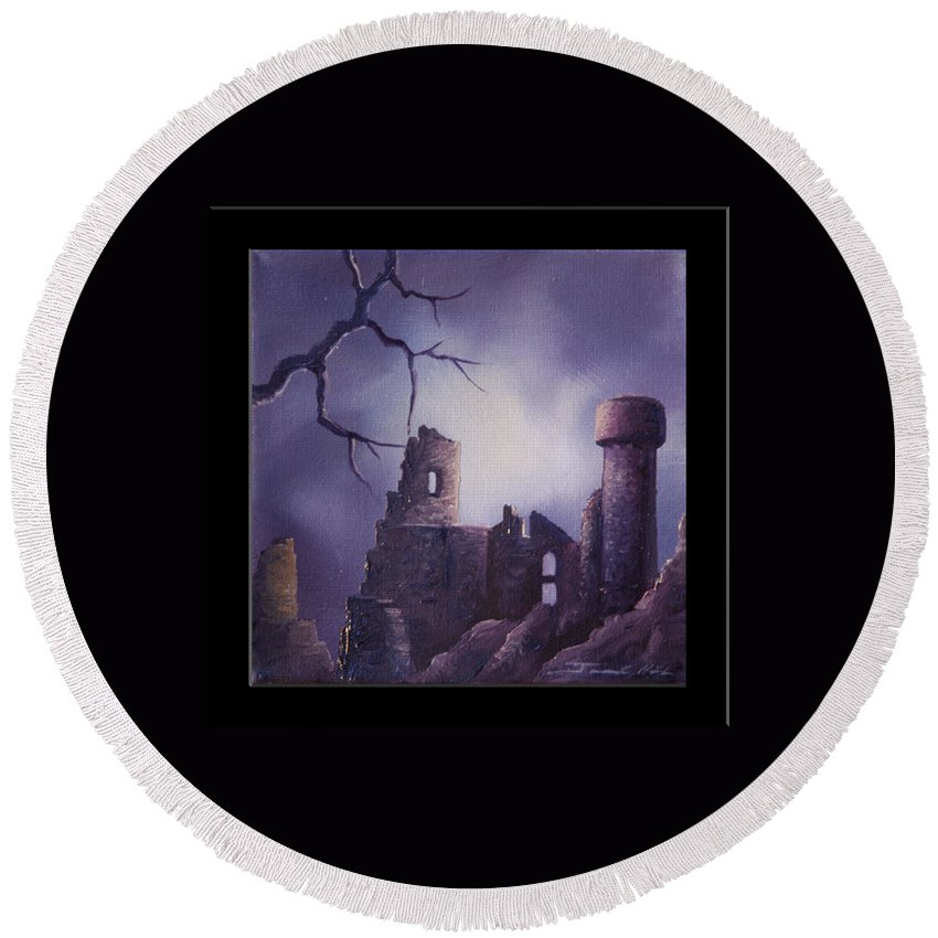 Gothic Round Beach Towel featuring the painting Dramar Castle by James Christopher Hill