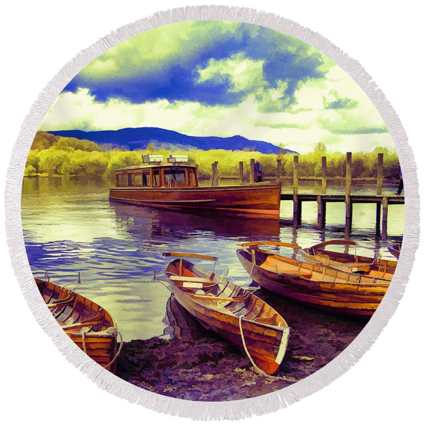 Lakes Round Beach Towel featuring the photograph Dramatic Derwent by Gillian Singleton