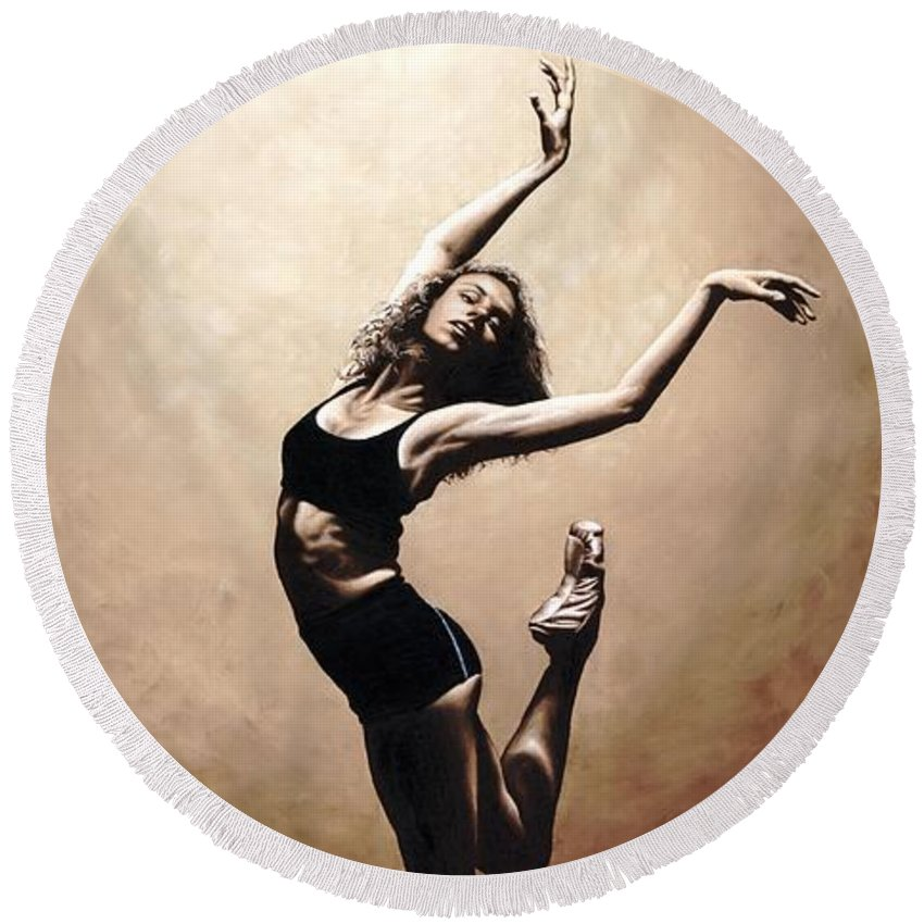 Dancer Round Beach Towel featuring the painting Dramatic Eclecticism by Richard Young
