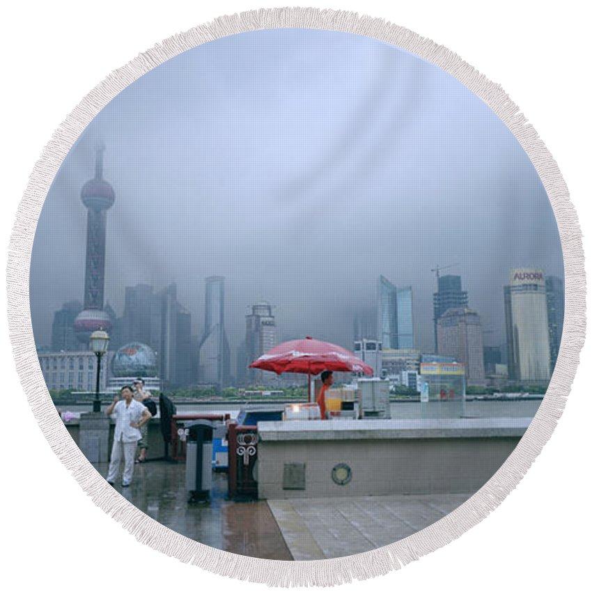 Shanghai Skyline Round Beach Towel featuring the photograph Dramatic Shanghai by Shaun Higson