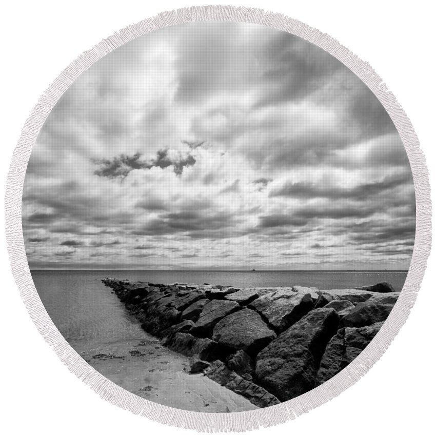 Beach Round Beach Towel featuring the photograph Dramatic Sky At Penfield Jetty by Stephanie McDowell
