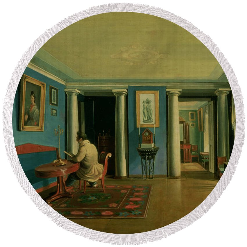 Russian Round Beach Towel featuring the painting Drawing Room With Columned Entresol by Kapiton Alekseevich Zelentsov