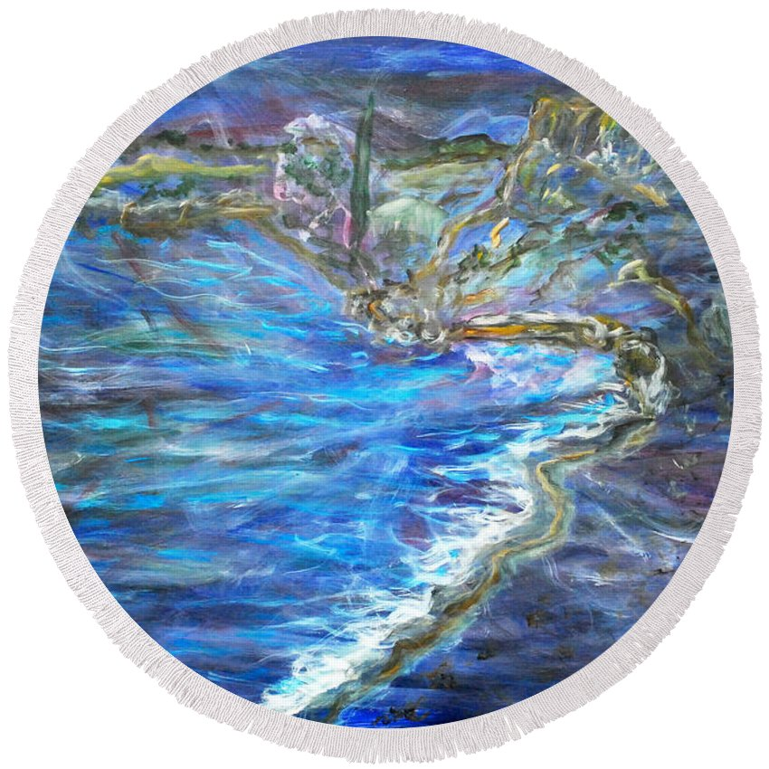 Augusta Stylianou Round Beach Towel featuring the painting Dream by Augusta Stylianou