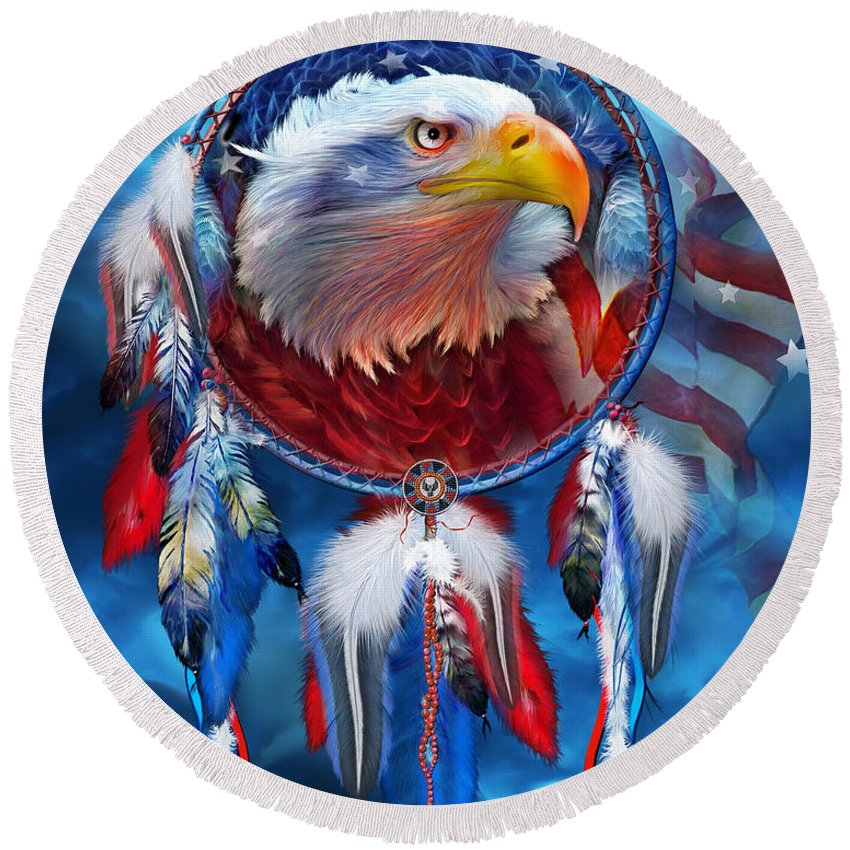 Dream Catcher Eagle Red White Blue Round Beach Towel For Sale By