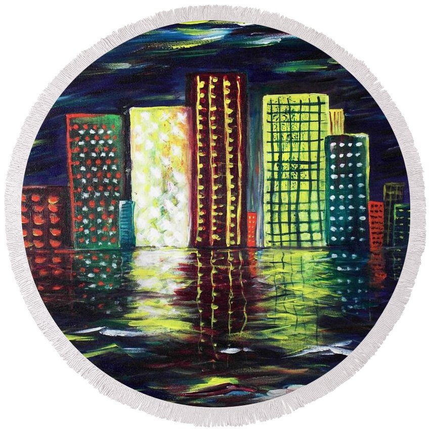 Skyline Round Beach Towel featuring the painting Dream City by Anastasiya Malakhova
