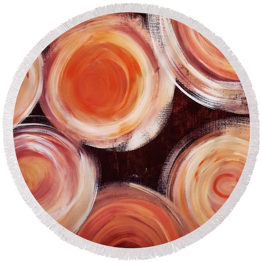 Modern Abstract Painting Round Beach Towel featuring the painting Dream by Katie Slaby