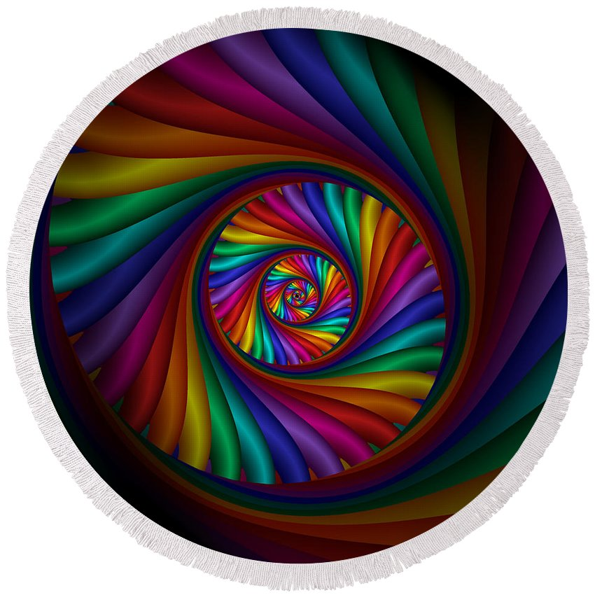 Rainbow Round Beach Towel featuring the digital art Dream State 4 by Kiki Art