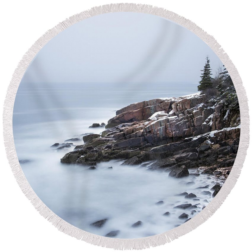 Acadia Round Beach Towel featuring the photograph Dream State by Evelina Kremsdorf