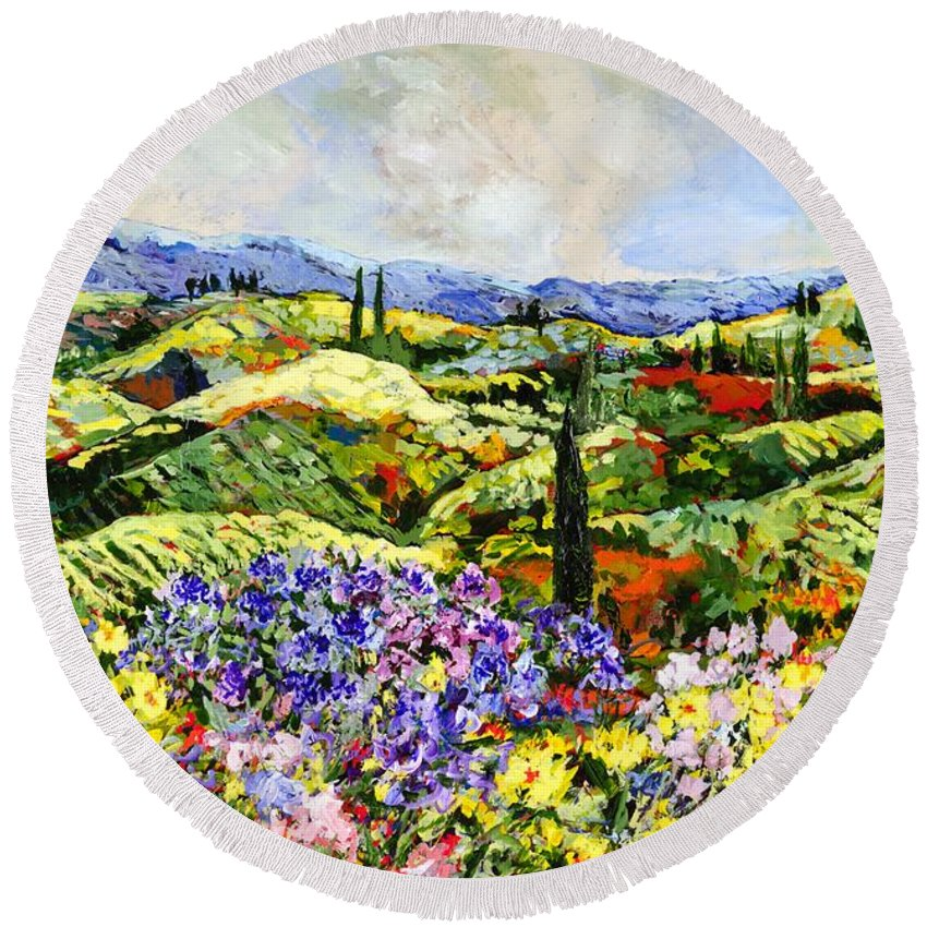 Landscape Round Beach Towel featuring the painting Dream Valley by Allan P Friedlander