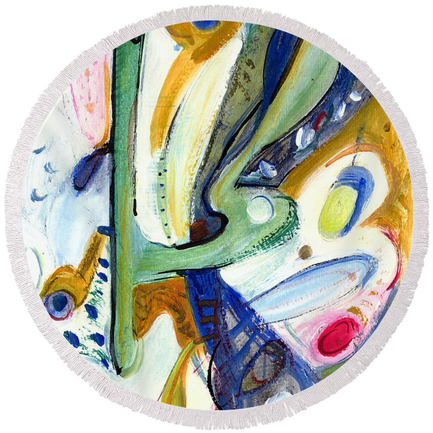 Abstract Art Round Beach Towel featuring the painting Dreams by Stephen Lucas