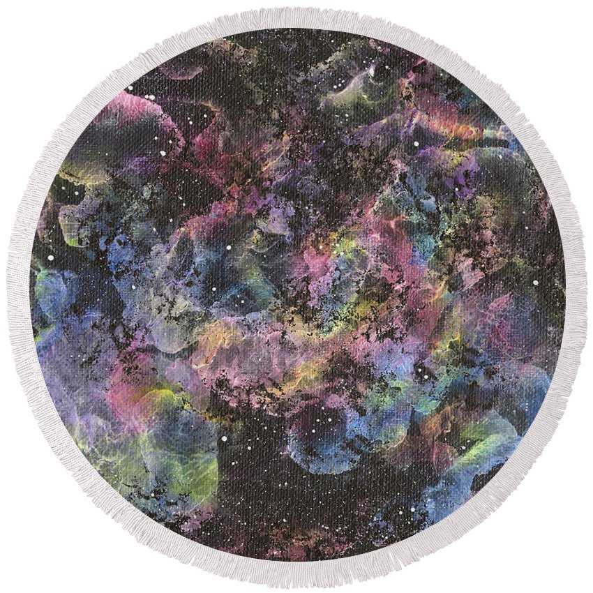 Universe Round Beach Towel featuring the painting Dreamscape 5 by Wendy Anderson