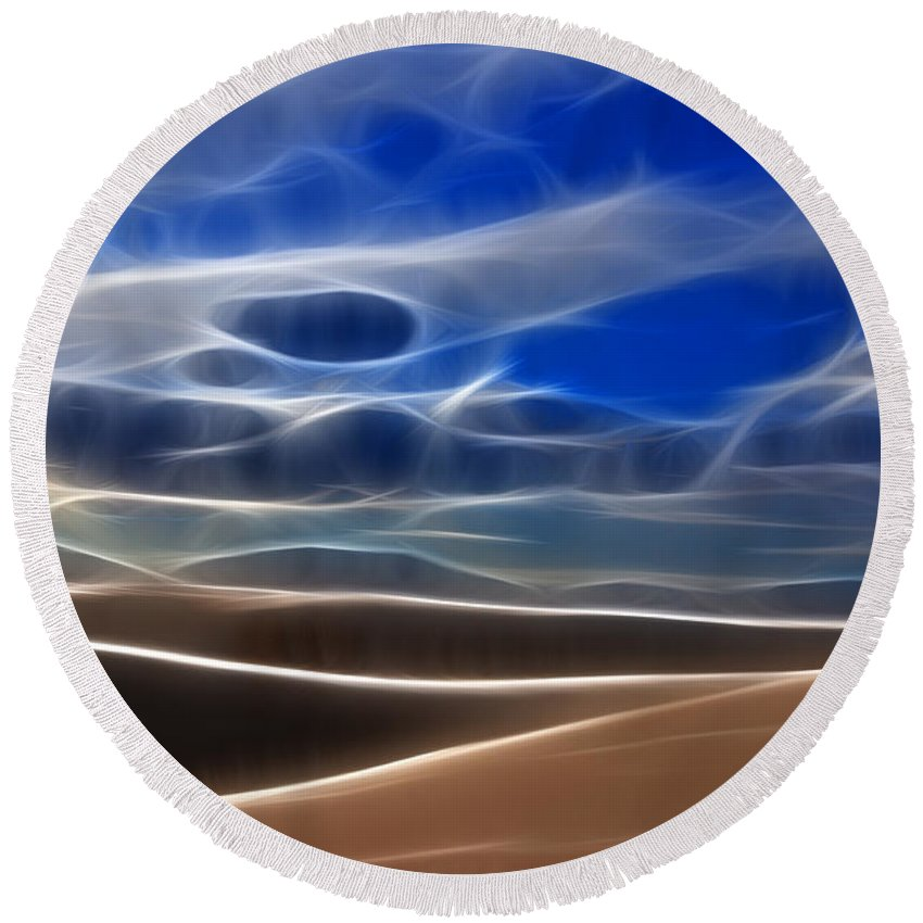 Abstract Round Beach Towel featuring the photograph Dreamtime Desert Sands by Vivian Christopher