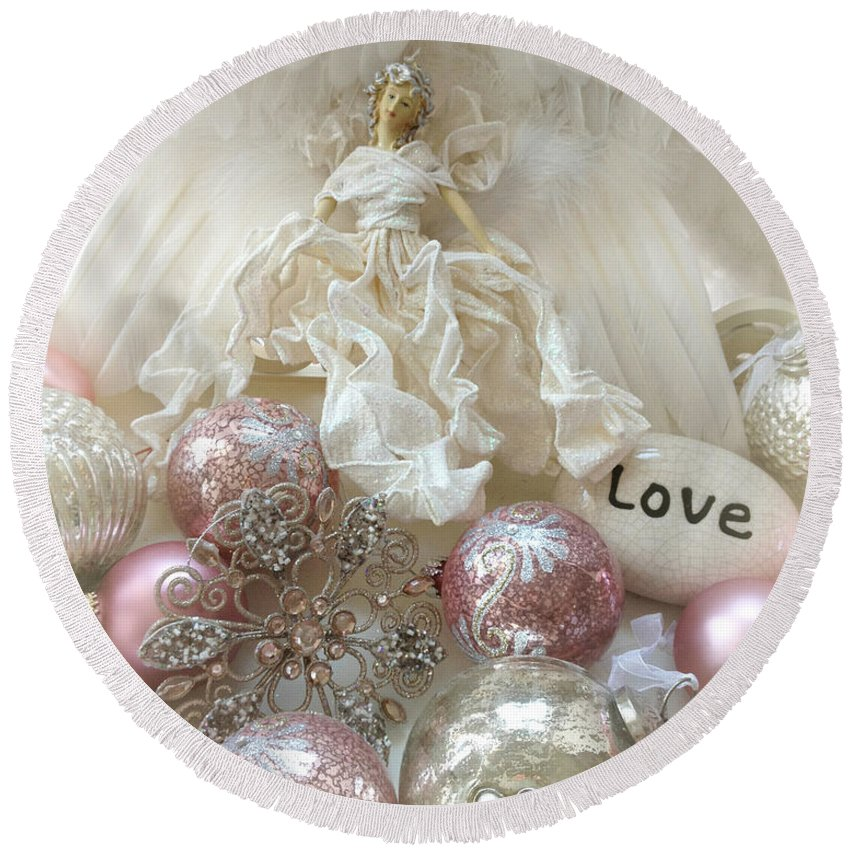 Angel Art Round Beach Towel featuring the photograph Dreamy Angel Christmas Holiday Shabby Chic Love Print - Holiday Angel Art Romantic Holiday Ornaments by Kathy Fornal
