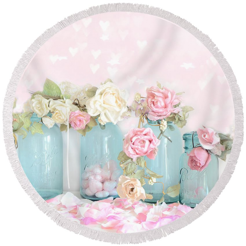 Roses Round Beach Towel featuring the photograph Dreamy Shabby Chic Pink White Roses - Vintage Aqua Teal Ball Jars Romantic Floral Roses by Kathy Fornal