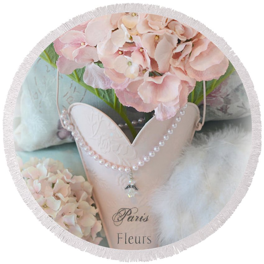 Paris Round Beach Towel featuring the photograph Paris Shabby Chic Pink Hydrangeas Heart - Romantic Cottage Chic Paris Pink Shabby Chic Hydrangea Art by Kathy Fornal