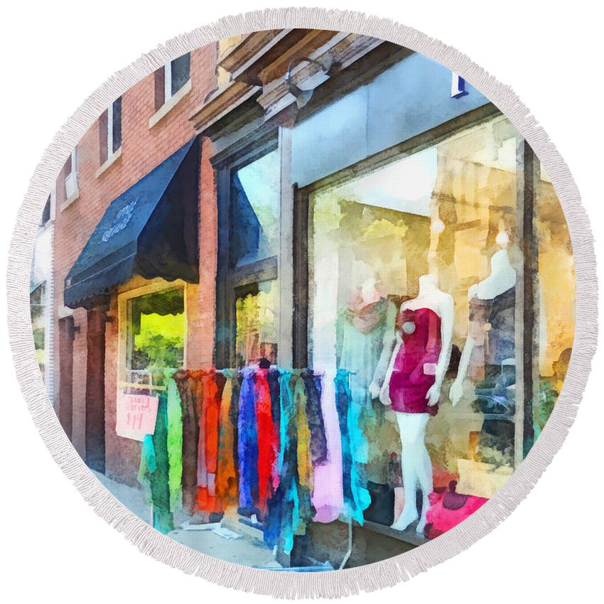 Dress Round Beach Towel featuring the photograph Hoboken Nj Dress Shop by Susan Savad