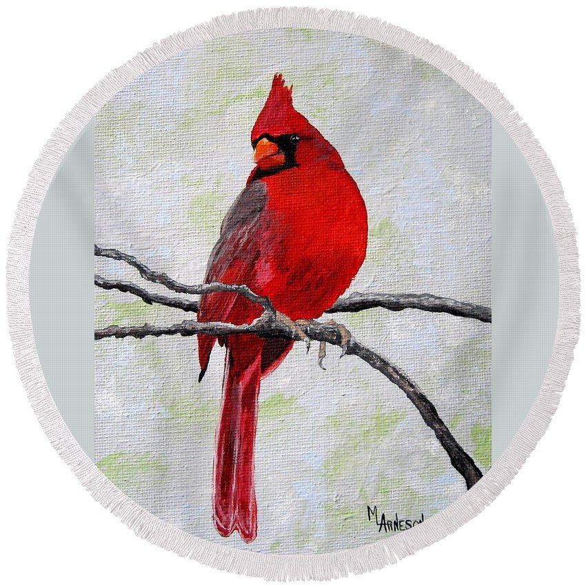Cardinal Round Beach Towel featuring the painting Dressed In Red by Mary Arneson