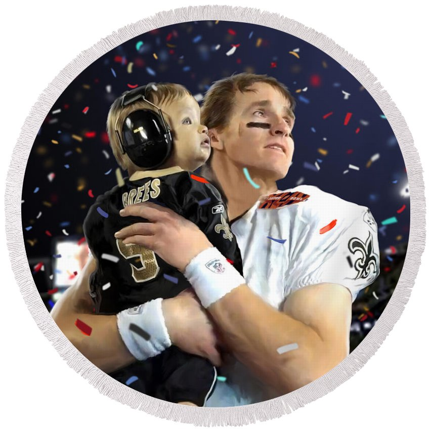 Drew Brees Round Beach Towel featuring the painting Drew Brees by Paul Tagliamonte
