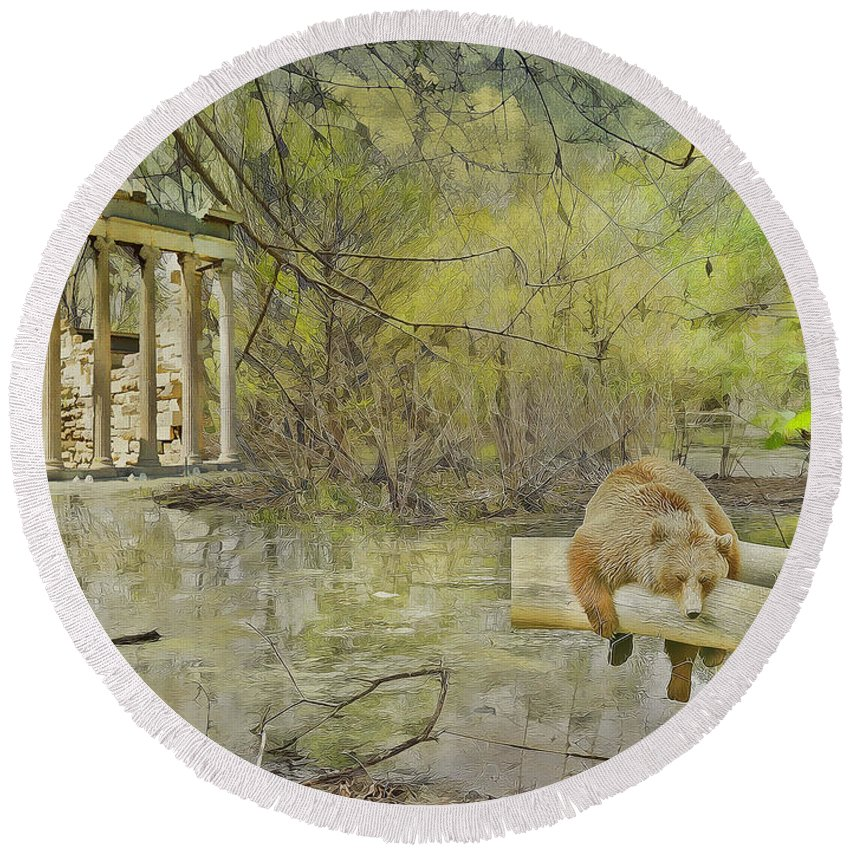 Bear Round Beach Towel featuring the photograph Drifter by Liane Wright