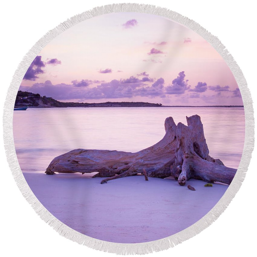 Long Bay Round Beach Towel featuring the photograph Driftwood At Sunset by Ferry Zievinger