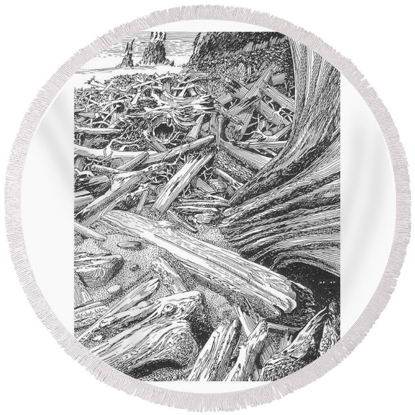 Find The Critter? Round Beach Towel featuring the drawing Critter In The Driftwood by Jack Pumphrey